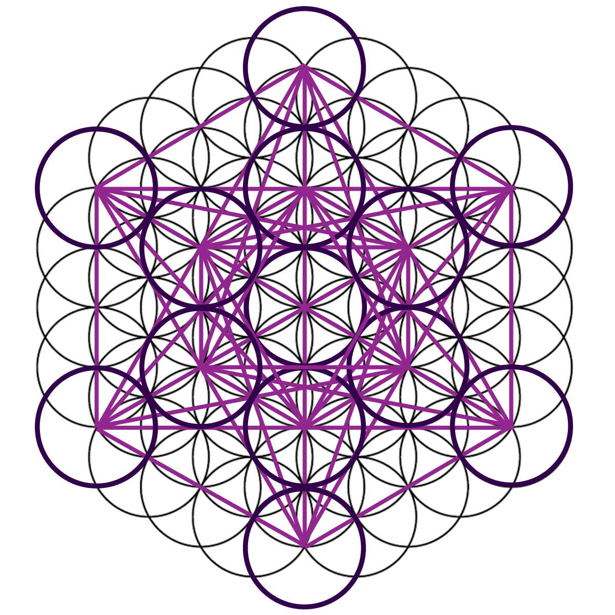 "(Patterns derived from the ""Seed of Life"" are also used to map out geometric forms. The Flower of Life as a template for ""Metatron's Cube"", a figure that ..."